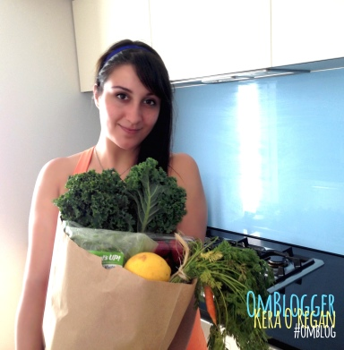 om blog om blogger kera o'regan holding veggies fresh produce paper bag