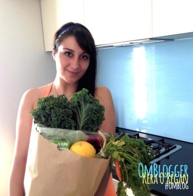 om blog om blogger kera o'regan holding veggies fresh produce paper bag