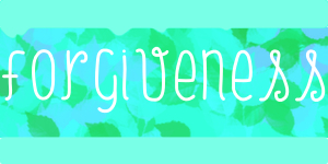"""Forgiveness"" light blue border with cyan and green hue leaves"