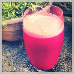 Delicious fresh home made beetroot, carrot and celery juice to help me on my healthy journey
