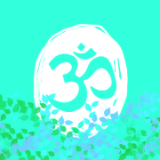 ॐ symbol in circle with leaves