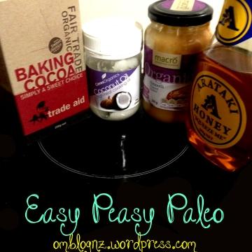 Ingredients for healthy paleo chocolate: Trade Aid Fair Trade Organic Cocoa Powder; Ceres Organic Coconut Oil; Macro Organic 100% Peanut butter; Arataki honey