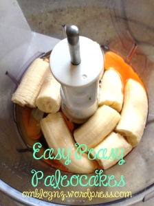 Bananas and eggs in a food processor for paleo pancakes mix