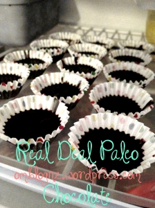 Spoon healthy paleo chocolate mix into cases