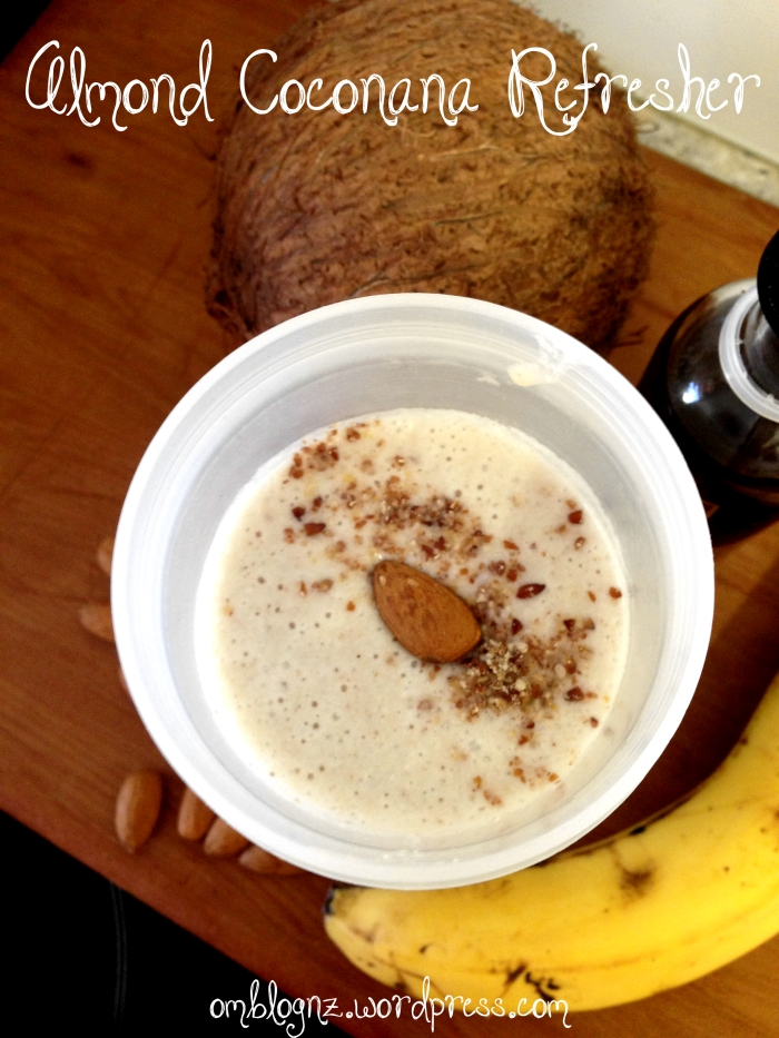 Almond Coconut Banana Smoothie with vanilla, honey and Natvia. Paleo, dairy and gluten free.
