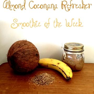 Almond Coconut Banana Smoothie with vanilla, honey and Natvia. Paleo, dairy and gluten free.