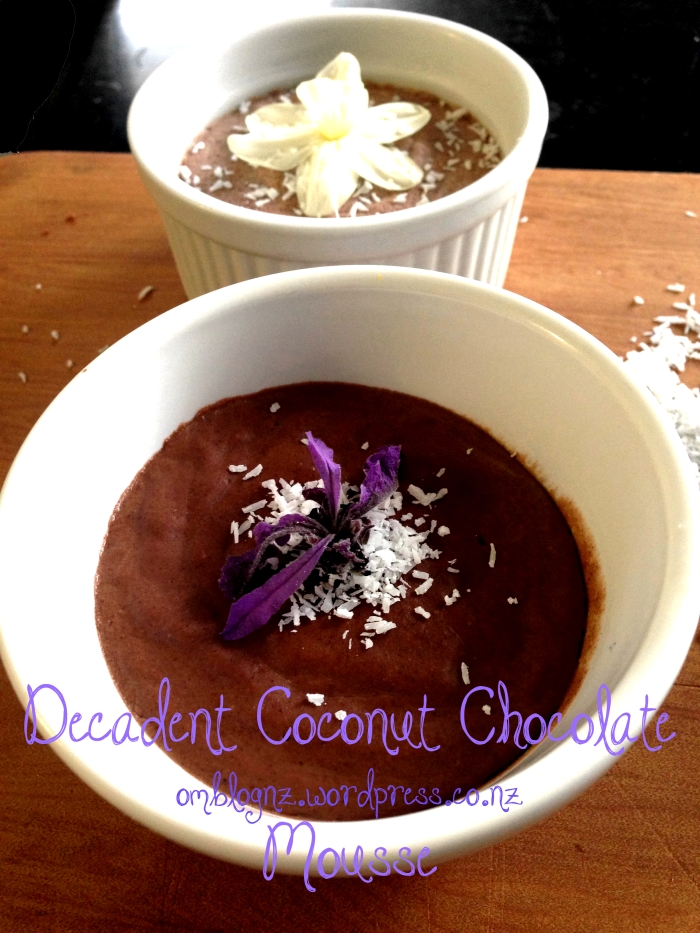 Coconut cream chocolate mousse dairy gluten and refined sugar free healthy paleo friendly paleolithic diet dessicated coconut with lavender
