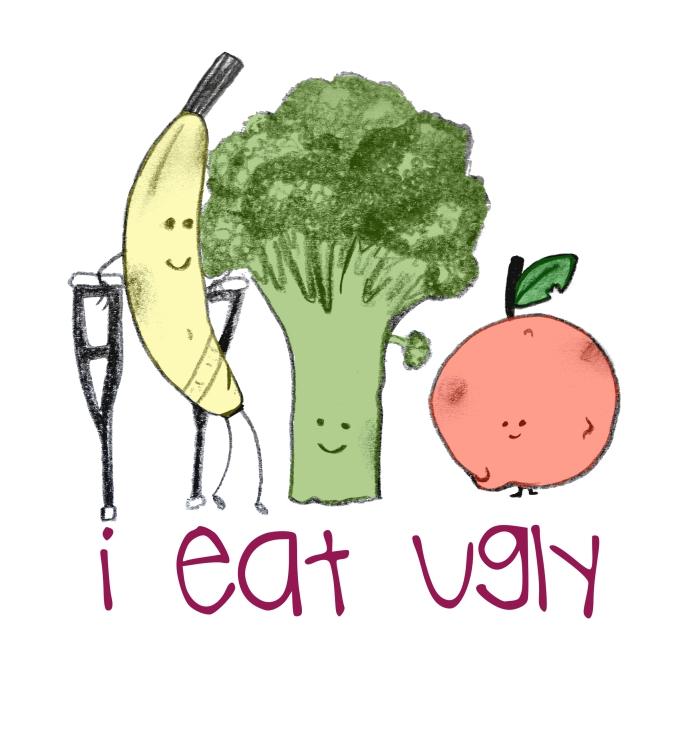I eat ugly, bruised banana, brocolli and apple. Crutches, injured. Food waste.