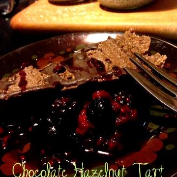 Paleo, vegan chocolate hazelnut tart