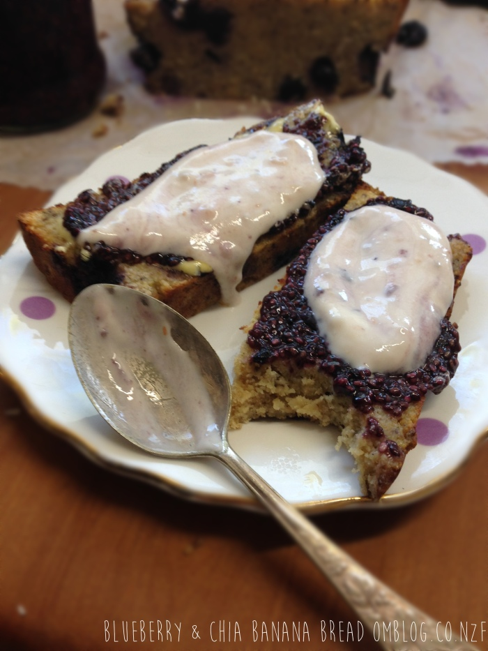 Blueberry & Chia Banana Bread with Blueberry Chia Jelly and Yoghurt